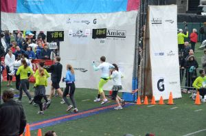Leaping across the finish line!